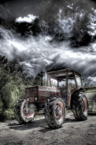 Tractor and dramatic clouds, France © David Hamilton Melby high dynamic range